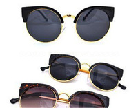 10pc/lot New 2013 Super Vintage Female Sunglasses Fashion Cat Eye Glasses Half Rim Metal Designer Eyewear 52107