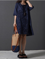 2014 spring summer autumn new the women's cotton & linen plus size patchwork fluid one-piece dress maxi big size