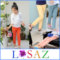 New 2014 Candy Color Cotton Girls' Leggings Autumn -summer Kids Solid Girls Pant Sport Casual Trousers Children Pants