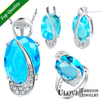 New Gifts 18K Silver Jewelry Set Wedding Love Oval Blue Red Purple Sapphire Stone CZ Zircon Ring Pendant Earrings Finely Cut