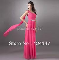 AQ Fashion 2013 multicolor bridesmaid dress chiffon dress one shoulder female long dress with crystal