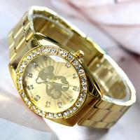 Free Shipping,Retail 2014 Newest Bear Model Fashion Full Stainless Steel Wrist Watch, Women Reinstone Gift Watches,Quartz Watch