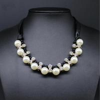 2014 Fashion Silk Ribbon Pearl Pendant Chocker Necklace Rhinestones Chunky Choker Statement Jewerly For Women Dress Accessories