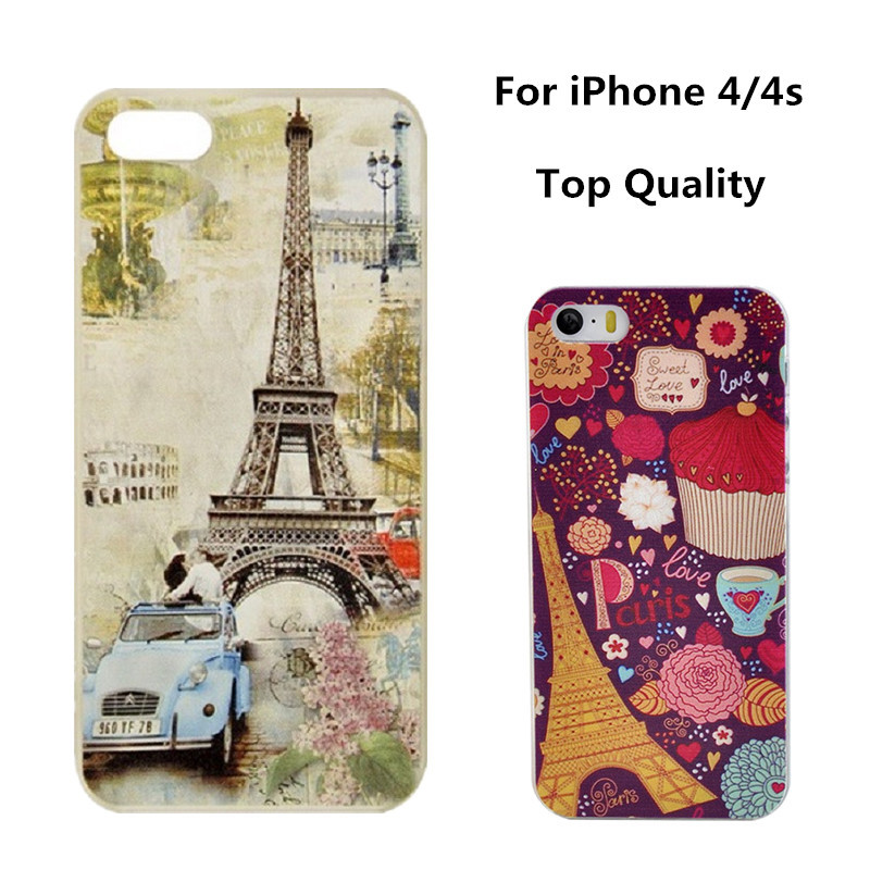 New Arrival Fashion Beautiful Painted Eiffel Tower Design Cell Phones Hard Case for iphone 4/4s Free Shipping without Retail Box(China (Mainland))