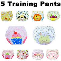 5 pcs/lot 2014 NEW ! Baby Washable Diapers/Children Reusable Underwear/100% Cotton Breathable Diaper Cover/Training Pants