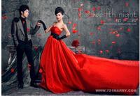 red train tail bra belt Princess Satin Wedding Dress 2014 NEW arrival long tail