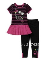 Free shipping! Monster High girl girls Striped t shirt top tutu dress dresses + legging leggings outfit clothing suit set