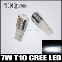 100pcs/lot T10 7W Q5 projector lens for Cree LED Reverse Backup LightSide Turn Signal Wedge Light Bulb Lamp Free Shipping