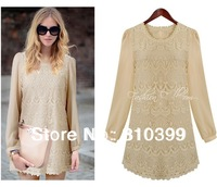 2013 New Arrival Round Neck Long Sleeve Lace Chiffon Elegant Dress Patchwork Mini Casual Dress M/L Freeshipping#D144
