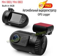 Mini 0801 Mini 0803 Ambarella A2S60 A7 Chip Car Dvrs Camera Build-in 8GB Full HD 1080P 30FPS+ OV2710 + G-sensor + GPS Logger S05
