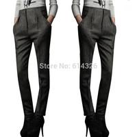 New Arrival 2014 Hot Sale Casual Women Pants Autumn Winter High Waist Wool Blends Straight Pants High Quality Women's Trousers