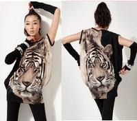 Tiger Printed T-shirt Long Tops Womens Summer Tees Eyes Popular T shirt Fashion Animal Pattern New For Women WC0265