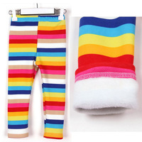 [retail]girls winter fleece warm rainbow leggings child pants,1760