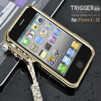 For iphone4 Aluminum metal Tool-less CNC Bumper TRIGGER Tactical Edition case for iphone 4 4S Frame cover with Climbing Rope