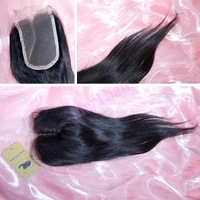 "Straight brazilian straight hair top closures, 8""-20"", middle part, natural black color,Free shipping wholesale!"