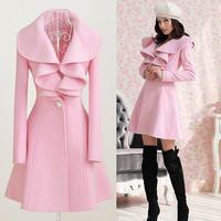 FS-0397 Autumn Winter 2014 Outerwear Coats For Women's Long Style Lovely Woolen  Trench Coat  Pink Black Red Beige M L XL XXL