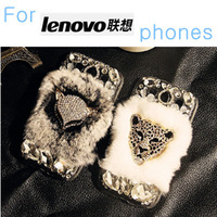 Real rabbit fur luxury rhinestone diamond DIY case For Lenovo K920 K910 Vibe X2 S960 S890 S860 S820 S8 P780 A8 A516 More others.
