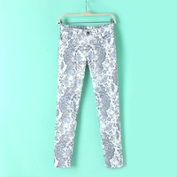 2014 New Fashion High Quality Slim Fit Skinny Straight Pants Flower Print Pants Women Casual Trousers  #SX9977