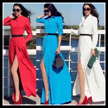 Plus size autumn maxi dresses new fashion 2014 women long dress high waist long-sleeve slim floor length casual vestidos black