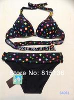 Free Shipping 2014 Women Sexy Swimwear Bikini V-neck split bikini swimwear Brand Bikini brown,black,white V3899
