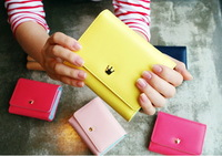 FREE SHIPPING Women's PU leather short design three fold wallets female wallets coin purse MQB32