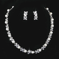 Free Shipping Top Czech Zirconium Pearl Beads Wedding Jewelry Sets Bridal Party Wedding Jewelry Necklace Earrings for Women