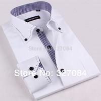 High Quality mens shirts fashion 2015 french men shirt long sleeve slim fit casual dress male social