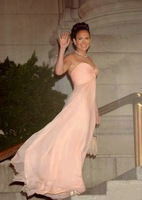 In Stock Pink Maid in Manhattan Jennifer Lopez Crisscross Ruched Bust Chiffon Prom Celebrity Evening Gown Party Prom Dress
