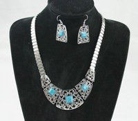 Free Shipping !Min Mix Order $10  MX001 Retro Irregular Hollowed-out Statement Necklace + Earrings Sets Vintage Jewelry Sets