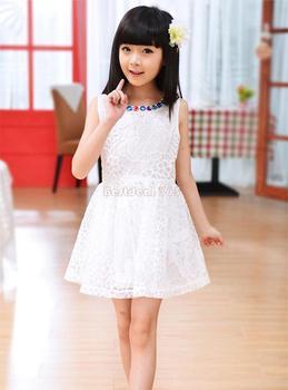 Korea Stylish Kids Lovely Floral Embroidery sleeveless dress baby girls' Sundress White/Green B2 16342