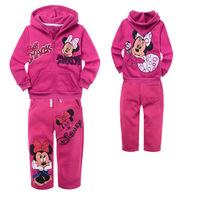 xlbb20 fleece warm minnie mouse girls clothing sets winter 2-8 age rose red kids pants + children hoody 6pcs/ lot free shipping