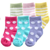 Free Shipping 10pairs/lot Cotton Baby Socks Toddler Stripes and Dots Combo Socks Small Kid's Boy Girl Cotton Socks 0-36 months