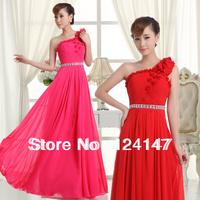 AQ Fashion 2014 new arrival bridal evening dress red long dress bride design one shoulder evening dress