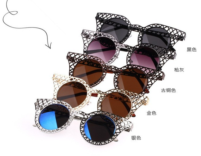 New 2015 Women Sunglasses Vintage Lace Hollow Grid Sun Glasses Metal Arms Blue Coating Oculos De Sol Cat Eye Glasses(China (Mainland))