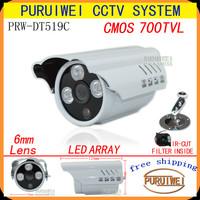 """100%Original 1/4""""CMOS 700TVL IR-CUT Filter 3pcs Array IR 960H outdoor/indoor waterproof CCTV Camera with bracket.Free shipping!"""