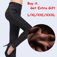 2014 Winter HOT Extra Plus Size L/XL/XXL/XXXL Women Leggings Popular Jeans Extra Thicken Cotton Warming Leggings For Women MN028