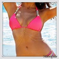 New 2014 Fashion Gold Chain necklaces sexy Bikini X-shaped gold body chain necklace Summer Beach Women Body chain Jewelry