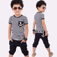 Children's clothing 2014 new summer new fashion kids sets boys navy striped t-shirt and pants suits Free shipping