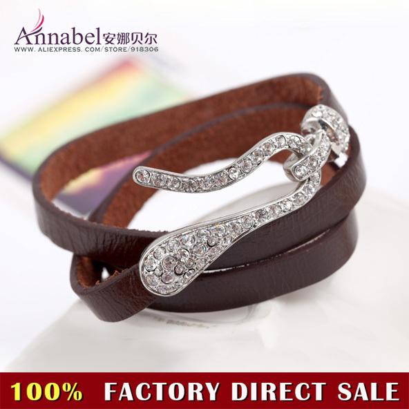 2013 New Fashion Unique Designer Jewelry,Charm Crystal Bracelets,Punk Rock Style Leather Cuff Bracelet Wristband Bangle(China (Mainland))