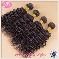 She cheap 6A virgin hair unprocessed peruvian deep wave 4 pcs peruvian virgin hair weaves human hair extension can be dyed