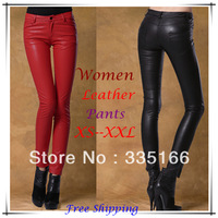 Brand New Women Leather Pants With Matte PU Red/Black/Rose,  Fashion Slim Hip Skinny Pencil Trousers XS--XXL Plus Size  #JM06711