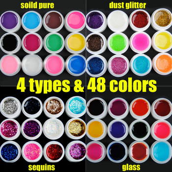 Free shipping 48 colors Solid pure & glass & dust glitter & sequins 4 types for options nail art UV gel builder gel