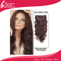 "10""-24"" Virgin Remy Hair Clip In brazilian body wave Human Hair Extensions 7 pieces #4 medium brown Colors available"