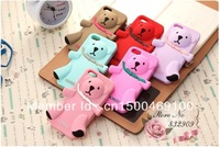 3D luxury Milan Cute hug Teddy Bear animal silicon cover case for iPhone 5 christmas gift