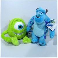 Free shipping 1pair 25cm Monsters University Monster Mike Wazowski+James P. Sullivan plush toy for kids gift
