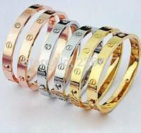 18K Rose Gold with Diamond Matching Bracelet Love Card Lock Free Shipping