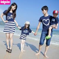 Freeshipping 2014 summer children clothes brand fringe cotton blouse dress/t shirt beachwear Family Pack,for mom,girl,boy,dad
