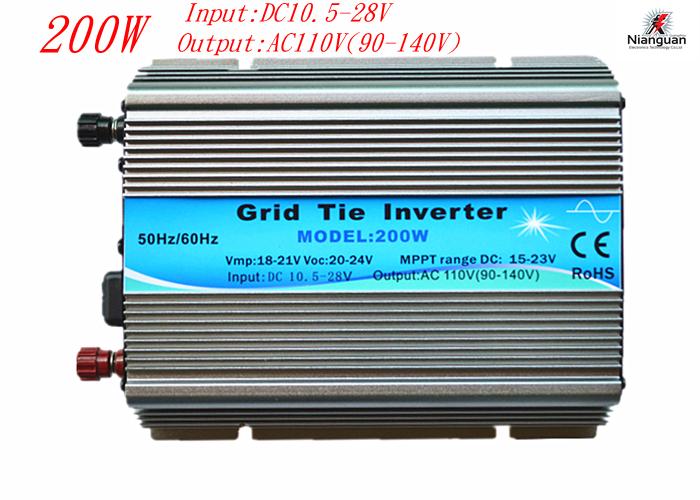 Hot Sales!!! 10.5-28V 200W New Grid Tie Inverter For Solar Home System MPPT Function DC 12V AC 110V Pure Sine Wave Inverter(China (Mainland))