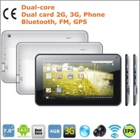 7 inch Dual-Core Dual Card 2G 3G WCDMA PHONE Bluetooth wifi GPS 1.2GHZ 4GB ROM 512MB 3000mAH android 4.2  MTK6572 tablets pcs