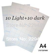 A4 Paper 20pcs=10 Light +10 Dark Inkjet Heat Thermal Press Fabric Transfer Paper Iron On Transfers Water Transfer Printing Paper(China (Mainland))